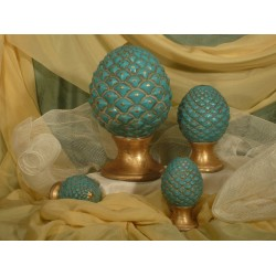 Pine Cone Turquoise and Gold Tris