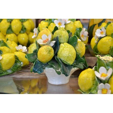 Cesto Tondo Limoni e Fiori