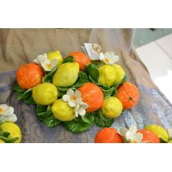 Composizione da Tavolo Limoni Ovale Arance e Fiori