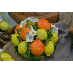 Composizione da Tavolo Tonda Arance, Limoni e Fiori