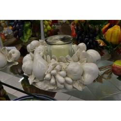 Centrotavola Portacandela Tondo Frutta Bianco Patinato