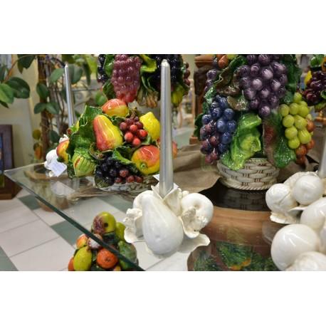 Portacandela Frutta Bianco Patinato