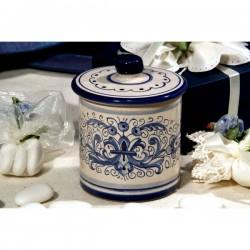 Sugar Bowl Cylindrical Ricco Deruta Blue