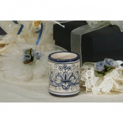 Toothpick Holder Cylindrical Ricco Deruta Blue