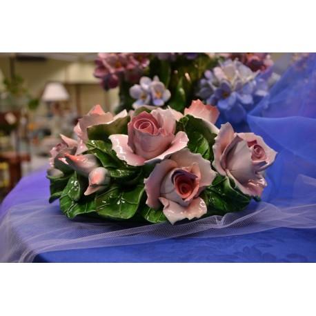 Composizione da Tavolo Ovale Rose Rosa
