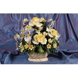 Round Basket Iris and Blue and Yellow Roses