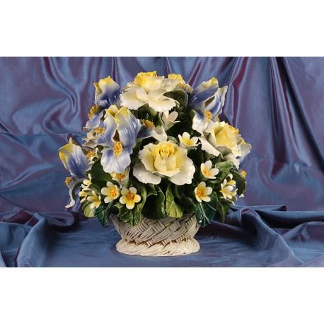 Cesto Tondo Iris e Rose Gialle e Blu