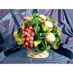 Round Basket Grapes and Pomegranate