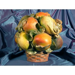 Round Basket Fruit Gold Wood