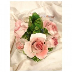 Candleholder Oval Pink Roses