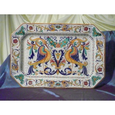 Octagonal Plate Raffaellesco Luxury with Peacocks