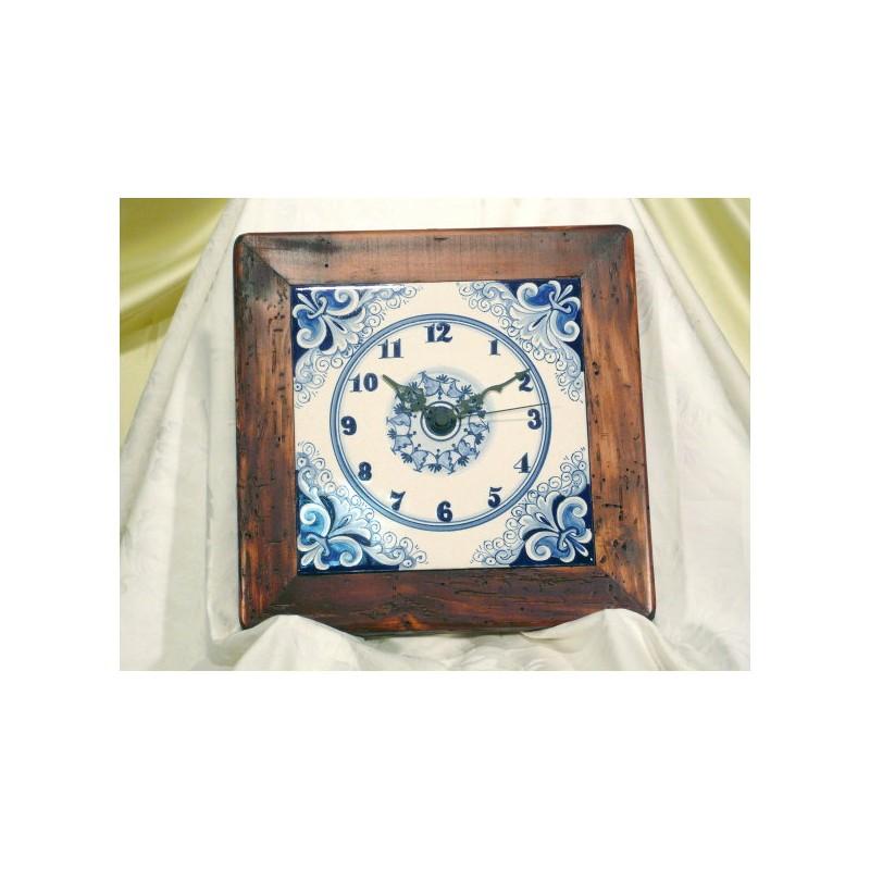Orologio Quadrato da Parete con Cornice in Legno Vario Blu Deruta Megastore Ceramiche Torretti CERAMICS DERUTA