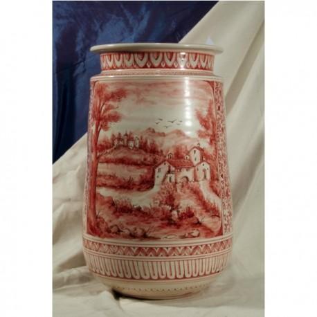 Porta Ombrelli Uovo Collo Cilindrico Liscio Paesaggio Rosso