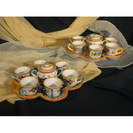 Coffe Set x 6 with Flower Tray and Sugar Bowl Classic
