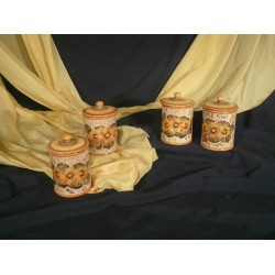 Kitchen Jars Set Flowers Classic