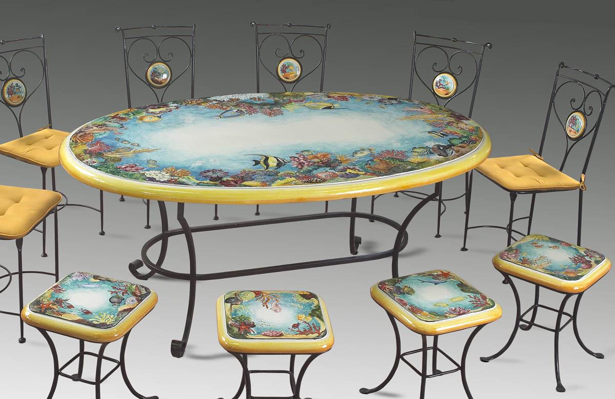 Prezzi Tavoli Da Giardino In Ferro.Tavoli Da Giardino In Ceramica Deruta Deruta Megastore Ceramiche